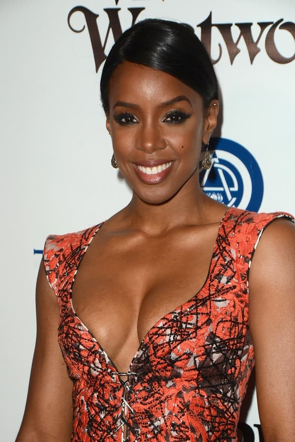 Kelly Rowland Orange Dress